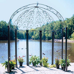 Flower Scroll Pavilion - The Domed Scroll pavilion has a semi-circular base with intricately scrolled half dome top that makes a great focal point for any garden or other outdoor location and is ideal for formal occasions such as weddings, parties, etc. Set it up indoors or out with easy slip-in components so no tools needed for assembly.