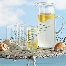 School of Fish Drinkware - The tiny etched and hand-painted blue fish appear to swim right through this glassware. Clean and clear design dresses up humble water and makes drinking it a pleasure. Mouth-blown pieces are hand wash only.