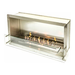 """Bioflame Firebox w/ 38"""" Burner Single Sided 27000BTU Stainless Steel - 70754001Features: - 27,000BTU - 7.9Kw/h (heats on average 93m2 or 1,001ft2) - 304 Stainless Steel Firebox Construction - Brushed Stainless Steel Internal Frame - 8mm Tempered Glass On One or Two Sides (Depending On Model) - 38"""" Burner3298aFuelWant to know something sweet about the ethanol fuel used in Bio Flame fireplaces? It's all based on sugars!That's right, the Bio Flame ethanol fuel is so environmentally friendly that it is created through a fermentation process of sugars, including those from sugar cane, corn, beets, and potatoes. These natural, all-reable resources work together to create an ethanol fuel source that provides not only heat, but a beautiful, dancing flame, as well.Some of the additional benefits of using the Bio Flame ethanol fuel include:Environmentally friendly. Ethanol fuel is all-natural and made from reable resources. This means that you are not cutting down valuable trees that take much longer to regenerate.Better breathing. There is no air pollution with the Bio Flame ethanol fuel. This means that you, as well as everyone else, help to keep chemicals and toxins from being released into the air. You will breathe better in your home, and everyone else benefits from the reduction of pollutants, as well. There's no odor or smoke to worry about, either, providing you with a safe flame.Cleaner source. Ethanol fuel creates a clean heat source, eliminating the need to worry about cleaning soot or ash. Cleaning the Bio Flame fireplace is a breeze.Super simple. The ethanol fuel used in the Bio Flame fireplace is simple to use. Within seconds, you will have it refilled, never having to worry about spills or trekking out into the cold weather for another log.The Bio Flame environmentally friendly fireplaces use ethanol fuel, because it provides a better heat choice for you, and for everyone else. You never compromise on having a beautiful-looking fireplace, warmth, and a beautifu"""