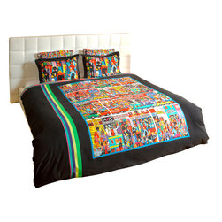 """ARTnBED - Duvet Cover """"Hindley Street"""", Full/Queen - Action, atmosphere and nightlife - Hindley street is the place where things happen in Adelaide, Australia. There is something for everyone, and it is all here on this dynamic duvet cover with a large digital print of the painting """"Hindley Street"""" by the artist Marie Jonsson-Harrison. Colorful and full of life - Marie paints everything she sees in her vibrant, not-to-be missed style. With this duvet in your bedroom, you'll wake with a smile every morning."""