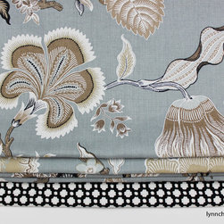 Custom Window Treatments by Lynn Chalk - Custom Roman Shade in Celerie Kemble for Schumacher - Hot House Flowers in Mineral with border in Celerie Kemble Betwixt in Black and White