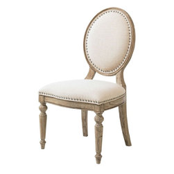 Lexington - Lexington Twilight Bay Byerly Side Chair - The Byerly Side Chair encourages self expression by letting you choose to mix and match the complementary finishes, or keep them all in the same family. Custom upholstered in Bridgeport, a basket-weave textured cotton in a soft ivory coloration, and accented in traditional French Laundry fashion with a pewter nail head trim, the Byerly Side Chair is a showcase of casual elegance. The classic oval back, graceful turned front legs, and gentle shaping on the seat cushion are small details that add together to make this chair a special find.