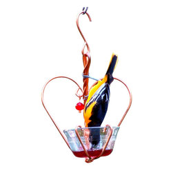 Songbird Essentials - Love Birds Jelly Feeder - Bird feeding with style! Features a bowl for grape jelly or mealworms and red glass bead dangles. The cup clips in and out for easy cleaning and filling.