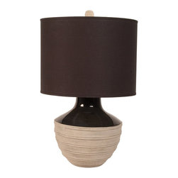 Lazy Susan - Lazy Susan 223059 Corrugated Trophy Lamp - If you're having trouble focusing lately, perhaps a table lamp that provides focused light will help. With a black fabric shade and a hand-crafted, hand-applied finish, this lamp will help remind you that when you do get your focus back, you will have something beautiful to focus on.