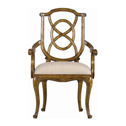 Stanley - Arrondissement Tuileries Arm Chair, Sunlight Anigre - A sophisticated blend of classic European styles, the Tuileries Arm Chair receives your dining guests with unmatched hospitality. The subtle tonal stripe of the Glace fabric enhances the detailed carving found on the chair's back, while the curves of the cabriole legs are mirrored in the seat's arm rests.