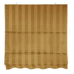 Oriental Furniture - Striped Roman Shades - Gold 72 Inch, Width - 72 Inches - - A lovely gold colored retractable fabric window blind, easy to install and to operate. Roman style window treatments are installed on the wood frame to overhang the window opening, not fitted to the inside of the window frame. Sold in five convenient sizes; 2, 3, 4, 5, or 6 foot wide, in lovely soft gold (shown). Inexpensive, attractive fabric window shades; the widest width designs can be ceiling mounted on simple hooks for a retractable room divider.  Roman style retractable window treatments block light and provide privacy.   Offered in 5 sizes; 2, 3, 4, 5, or 6 feet wide, all are 6 feet long.   Beautiful subtly striped cotton blend fabric in soft gold color.   Simple design is easy to operate and installs in minutes. Oriental Furniture - WT-YJ1-E-72W
