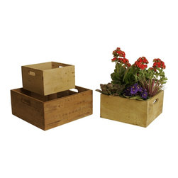 None - Square Distressed Rustic Wood Crates (Set of 3) - These square wooden storage crates are delightfully rustic in design and useful. When not in use,the distressed wood finish boxes nest for easy storage.