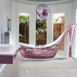Icons Mosaic Shoe Bathtub - Bathing in a pink, sequin, high-heeled shoe is like some kind of decadent, 1970s, disco fantasy. This is a fully functional, Italian-designed bath with a finely crafted glass mosaic exterior that creates the look of glittery sequins. To complete the look of the carefree era, I'd just have to have something white and fluffy nearby, like a shag carpet in lieu of a bathmat. There's no need for practicality in this fantasy bathroom!