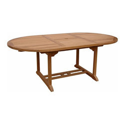 "Anderson Teak - Bahama 71"" Oval Extension Table Extra Thick Wood - This table stands 29"" high x 47"" wide x 47"" long, opening to 71"". Seats 6 to 8 people. It is available with or without umbrella hole. This solid Teak ""Extension Table"" with extra thick wood makes the perfect addition to your Patio or Backyard. The unique built-in butterfly pop-up leaf enables you to open and close your table in 15 seconds. The leaf folds away for easy storage. The thickness of the table is made for generations."