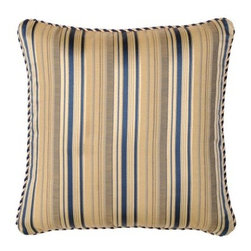 Jennifer Taylor 21 x 21 in. Hampton Pillow - Stylish stripes in a handsome blue and taupe color palette give the Jennifer Taylor 21 x 21 in. Hampton Pillow its distinguished look. Perfect in any room, this square pillow features a jacquard fabric cover with tailored, braided cord trim and comes complete with a plump pillow insert.About ACG Green Group, Inc.ACG Green Group is a home furnishing company based in Irvine, California and is a proud industry partner with the American Society of Interior Designers. ACG Green features Jennifer Taylor and Sandy Wilson, their exclusive home décor lines. These two complete collections offer designer home furniture, bedding sets, dining linens, curtains, pillows, and more in classic silhouettes, original designs, and rich colors to complement your home and life.