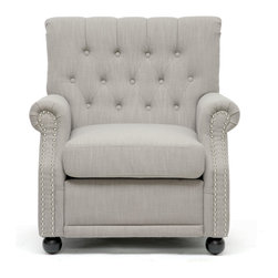 Baxton Studio - Baxton Studio Moretti Light Grey Linen Modern Club Chair - Add a modern twist to your home decor with this linen club chair. This club chair features light gray linen that will look great with many home styles. The chair has a sturdy wooden frame and polyurethane foam cushioning with a removable seat cushion.