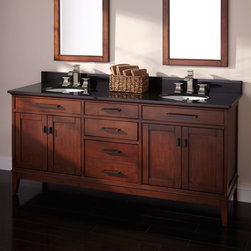 """72"""" Tobacco Madison Double Vanity for Undermount Sinks - With a sophisticated design and rich Tobacco finish, the 72"""" Madison Double Vanity is a distinguished way to organize your bath."""