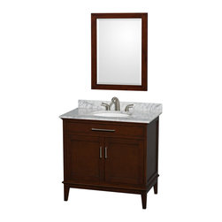 """Wyndham Collection - Hatton 36"""" Dark Chestnut SGL Vanity, Carrera Marble Top, UM Rd Sink, 24"""" Mrr - Bring a feeling of texture and depth to your bath with the gorgeous Hatton vanity series - hand finished in warm shades of Dark or Light Chestnut, with brushed chrome or optional antique brass accents. A contemporary classic for the most discerning of customers. The Wyndham Collection is an entirely unique and innovative bath line. Sure to inspire imitators, the original Wyndham Collection sets new standards for design and construction."""