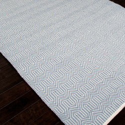Escape Sky Indoor/Outdoor Rug - 2' x 3' - Refined yet playful, the pattern of the Escape Sky Indoor-Outdoor Rug is vibrant even in its dreamy, low-key pastel blue and white palette.  Fine lines leap and angle over the surface for an active and moving look.  Not only is the rug remarkably durable and easy to care for with its low-profile flat weave and manmade fiber content; it's even reversible to extend its life.