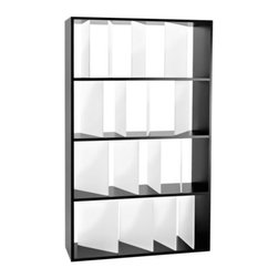 Kartell - Sundial Bookcase by Kartell - Angled dividers give the Kartell Sundial Bookcase distinction over standard shelving. The varying angles cast shadows like a sundial, and give the overall piece a spinning sense of dynamism. This light, medium-sized bookcase is designed to be used on its own as a wall unit or room divider or lined up together with other units. Founded in 1949 by Giulio and Anna Castelli, Kartell has become the world leader—and innovator—in the realm of molded plastic furniture. Headquartered in Italy, Kartell works with designers worldwide to create their distinctive line of modern furniture, lighting and accessories. Dedication to discovering and employing new technologies and manufacturing methods results in a growing line of durable, stylish and cutting edge products.
