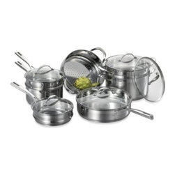 Cat Cora - Cat Cora Stackable Stainless Steel 12-Piece Cookware Set - Cat Cora's stackable cookware was designed to save space and still allow easy access to each piece. High-quality stainless steel cookware is built to withstand the demands of the busy family kitchen.