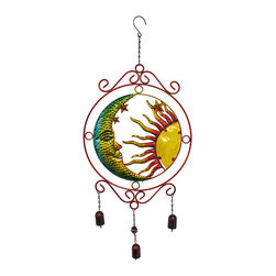 Red/Yellow Sun, Moon, Stars Metal Suncatcher with Bells - Add a colorful accent to your porch or patio with this metal celestial suncatcher with bells. It features a moon, stars, a radiant sun with a glass face that lets the light shine through, and three bells hanging from the bottom that chime in the wind. This piece measures 20 1/2 inches tall, 15 1/4 inches wide, and has a total hanging length of 32 1/2 inches, from the hook at the top to the bottom of the longest bell. It looks great on screen doors, hanging from a plant hook on the porch, or even hanging from a tree in the yard. It makes a lovely housewarming gift, and it is sure to be admired.