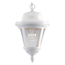 """Progress Lighting - P5530-30 Progress Lighting Westport - Progress Lighting P5530 Westport Outdoor Pendant One-light cast hanging lantern with clear seeded glass. ,. This product by Progress Lighting is available in white. Illuminated by one 100-watt clear incandescent bulb. Part of the Westport collection. Width/Diameter: 9"""". Height: 14-5/8"""". Uses (1) 100w Max Medium Base Bulb. Clear seeded glass. Beaded details with ribbed finials. Die cast aluminum construction. Six feet of matching 9-gauge chain supplied. Painted finishes. Companion post top, and wall units. Ceiling chain mount. Canopy covers a standard recessed 4"""" hexagonal outlet box. Mounting strap included. Ceramic medium based socket. Pre-wired. UL Damp location listed."""