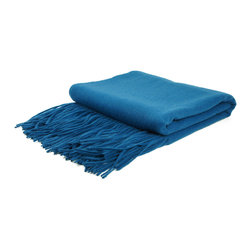 "Pur by Pur Cashmere - Signature Blend Throw Teal 50""x65"" With 6"" Fringe - Signature cashmere blend throw 10% cashmere / 80% wool / 10% microfine Dry clean only. Inner mongolia."