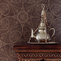 Yasmin - Stamped with a glorious mica shimmer, this espresso brown wallpaper brings a global chic look to your room with a stunning henna inspired design.