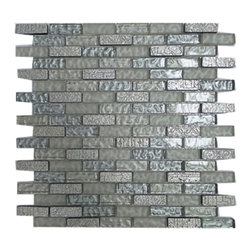 GL STONE - Silver Grey Porcelain & Glass Random Bricks Mosaic Tile, 1 Carton (11 Sheets) - 1/2 in. x 2 in. Silver Grey Porcelain and Glass Mosaic Tile is the best choice for Bathroom Floor, Kitchen Backsplash and shower wall. This beautiful mosaics is made from glossy glass & porcelain in silver color. The glossy & frosted finish gives a distinctive appearance; It also looks great in large spaces or smaller areas like a kitchen backsplash, bathroom wall, etc.