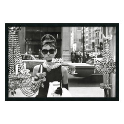 """Amanti Art - Audrey Hepburn, Breakfast at Tiffany's (Window) Framed with Gel Coated Finish - The image of Audrey Hepburn standing in front of the New York City jewelry store window from the movie Breakfast at Tiffany's has become so iconic, just about every shopping-obsessed woman has probably owned a version of it. If not, Holly Golightly might likely slap you upside the head with her """"Moon River"""" ukulele! Enjoy this great image as beautifully framed art on your wall."""