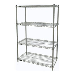 InterMetro Industries - Metro Shelving Unit - 36x18x54 Chrome - As the original wire storage shelving system and still the industry leader, Metro shelving continues to evolve and aims to meet the diversity of todays storage challenges. These professional grade units hold more weight. The four (4) shelves can be positioned, or re-positioned, at precise 1 increments along the length of the posts.  Open wire design minimizes dust accumulation and allows for free circulation of air and greater visibility of stored items. Casters (sold separately) available for mobile applications. This post-based shelving system, created in 1965, is recognized worldwide as the most popular commercial shelving system ever.  Assembly required