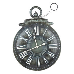 """Cooper Classics - Holbrook Clock - Add style and charm to your home's decor with the lovely Holbrook Clock. This stunning wall clock features a distressed gray metal finish that will enrich any decor.; Distressed Gray Metal Finish; Material: Tin; Country of Origin: China; Dimensions: 30.75""""H x 23.25""""W"""