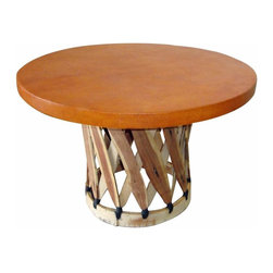 Round Mexican Equipale Coffee Table - Traditional Mexican hand crafted top quality Equipale coffee table. These are great for indoor or covered, outdoor settings. Take a look at the entire line of Equipale products. Traditional Mexican furniture made with quality products. DO not settle for the cheap stuff. It will not last! Dimensions: 31'' l x 20. 5'' h