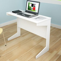 Sonax Slim Workspace Desk - Frost White - The Sonax Slim Workspace Desk - Frost White is a perfect addition to any home needing a little extra workspace. The transitional wood design assembles in minutes creating a great spot for your computer, tablets, or notebooks, if you're old school. The compact design is small enough to easily tuck out of the way but large enough for nights of studying and paperwork.