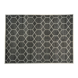 1800-Get-A-Rug - Charcoal Black Modern Wool and Silk Hand Knotted Oriental Rug Sh19404 - Charcoal Black Modern Wool and Silk Hand Knotted Oriental Rug Sh19404
