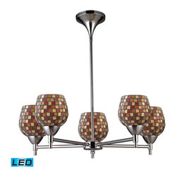 Elk Lighting - Elk Lighting Celina 5-Light Chandelier in Polished Chrome & Multi Fusion Glass - 5-Light Chandelier in Polished Chrome & Multi Fusion Glass belongs to Celina Collection by Designed To Showcase Our Many Blown Glass Options, The Celina Collection Utilizes A Simplified Frame That Embellishes The Shape And Color Of The Glass. Finished In Polished Chrome Or Dark Rust. - LED, 800 Lumens (4000 Lumens Total) With Full Scale Dimming Range, 60 Watt (300 Watt Total)Equivalent , 120V Replaceable LED Bulb Included Chandelier (1)