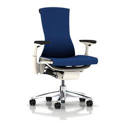 "Herman Miller - Embody Chair - As soon as you sit in this baby, you actually start improving the health of your back and spine, supporting every part of your body while feeling incredibly comfortable. This berry blue dream features a narrowing back and up-curving ""floating"" armrests to fit you like a glove."