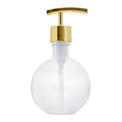 Southern Home Supply - Ball Shaped Recycled Glass Soap Dispenser with Modern Bright Gold Pump - Our Bath Bottle line includes a huge variety of beautiful and unique soap dispenser bottles. Save money and help the environment by switching to a reusable glass dispenser instead of disposable plastic dispensers.