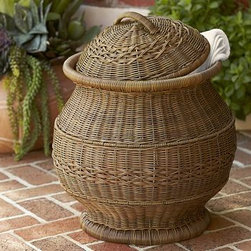 "Saybrook All-Weather Wicker Hamper - A stylish catchall for pool towels and more, this lidded, all-weather wicker basket is designed to live outdoors year-round. Click to read an article on {{link path='pages/popups/saybrook-care_popup.html' class='popup' width='640' height='700'}}recommended care{{/link}}. 20"" diameter, 22"" high Handwoven of all-weather wicker over a galvanized steel frame. The synthetic fibers of all-weather wicker are superbly weather resistant. Safely stores towels or clothes outdoors by the pool. Catalog / Internet Only."