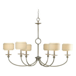 Progress Lighting - Progress Lighting P4463-134 Ashbury Six-Light Single-Tier Chandelier - Add elegance and style to any home with this sensational six light chandelier from the Ashbury collection. Featuring quartz inspired bobeches and a unique double-drum shade with thistle weave and toasted linen fabric creates a luxurious atmosphere for any dining room, living room, foyer, or other large area.Features: