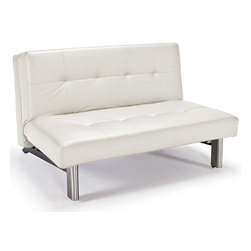 "Innovation USA - ""Innovation"" TJaze White Leather Textile Sofa Bed / Stain... - Flexibility and versatility of this sofa bed from TJaze collection will facilitate your life. The convertible design can turn this sofa into comfy bed. Take pleasure from your life full of comfort with this furniture by "" Innovation USA""."