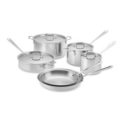 All-Clad Tri-Ply Stainless-Steel Cookware Set - This set includes pretty much every stainless steel piece of cookware you need.