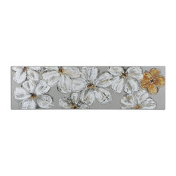 Uttermost - Stitched Daisies Floral Art - Artwork Is Hand Painted On Gray Cross-stitch Fabric Then Stretched And Attached To Wooden Stretchers. Due To The Handcrafted Nature Of This Artwork, Each Piece May Have Subtle Differences.