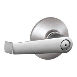 SCHLAGE LOCK - Elan Restroom Privacy Lever Satin Chrome - For bed/bathroom doors, professional needs where basic security needs or specific codes must be met, but usage is low to moderate. Pushbutton locking, open from outside with small tool; turning inside lever releases pushbutton. Constructed of plated, pres sure cast zinc. Wrought brass exposed trim and all metal parts.