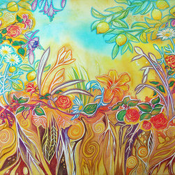 """Garden Magic (Original) by Leah Jay - This is a one of a kind original pastel-over-watercolor painting, commissioned for a book of poetry """"The Esteban Garden Book"""" by Annette B. Johnson, and was published in 2012. ------"""