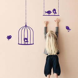 Tweeting Birds Wall Stickers - Violet - With our decorative WallStickers, it is easy to create a new look and change the style of a room in a matter of minutes.