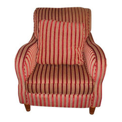 Pre-owned Striped Red Huntingon House Chair - This striped gentleman features warm hues of beige and vibrant red. Made by Huntington House this piece is perfect for the living room or reading nook.  Anywhere you place it, it's sure to become your favorite seat. Matching pillow included.