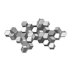 Ren-Wil - Ren-Wil MT1066 Landscape Manhattan 3D Cube Sculpture in All glass - Add depth and design to your wall with the Manhattan 3D cube wall sculpture featuring mirrored cubes in a pixel design.