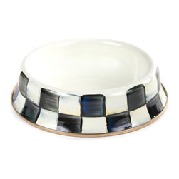 Courtly Check Enamel Cat Dish | MacKenzie-Childs - The cat's meow. Our Courtly Check® Enamel Cat Dish is hand-painted, with a heavy-gauge steel underbody and bronzed stainless steel. Irresistible.