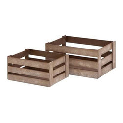 Woodland Imports - Woodland Imports Solid Wood Wine Crates - Set of 2 - Glazed Brown - 50966 - Shop for Storage and Organizers from Hayneedle.com! Perfect for the country cottage this pair of Woodland Imports Solid Wood Wine Crates - Set of 2 - Glazed Brown stores over a dozen of your favorite wines in each full-size crate. Constructed of solid hardwood with a weathered glazed brown finish this sturdy set can be carried outdoors or set inside for a rustic countertop display.