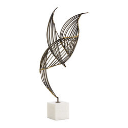 Kathy Kuo Home - Cai Large Modern Sculptural Wire Frame Bird on White Marble - Fluid lines and abstract shapes make this iron wire sculpture come to life, like a bird in flight.  Grounded on a marble base, the piece creates a strong modernist statement, perfect for contemporary art lovers.
