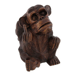 Hand Carved Mahogany Rude Monkey Flipping Bird Statue 8 In. - This incredibly funny statue of a monkey with his middle finger pointed up is the perfect gift for anyone with a good sense of humor. Hand-crafted in Indonesia from mahogany wood, the statue measures 8 inches tall, 5 1/4 inches wide and 4 3/4 inches deep. The wood is hand sanded and hand-rubbed with stain and oils to keep it looking great for a lifetime.