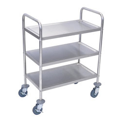Luxor Furniture - 3 Shelf Stainless Steel Cart in Stainless Ste - Shelves measure 26 in.W x 16 in.D. Rounded handle on either side for versatility. Includes four 4 in. NSF casters, two with locking brakes. Assembly required. 16 in. D x 26 in. W x 35 in. H (33 lbs.)