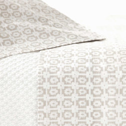 Pine Cone Hill - PCH Esha Platinum Sheet Set - Inspired by an artistic block print, the Esha sheet set combines familiar style with modern sensibility. This soft bedding by PCH boasts a geometric pattern in platinum and white. Available in twin, full, queen and king; Includes 1 flat and 1 fitted sheet; 100% cotton, 200-thread count; Designed by Pine Cone Hill, an Annie Selke company; Machine wash